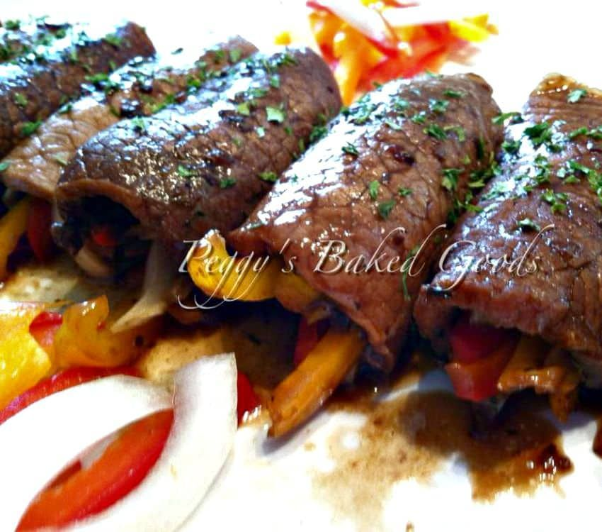 Beef Roll Ups. Delicious tender pieces of beef wrapped around cheese and vegetables, and coated ...