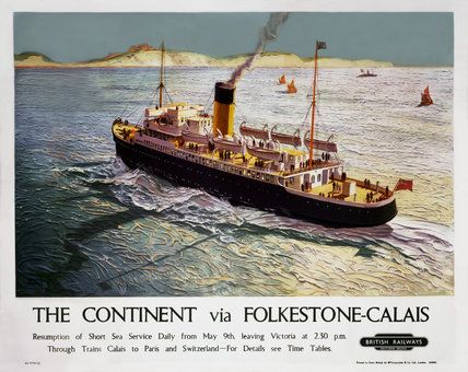 'The Continent via Folkestone-Calais', BR poster, 1948., Thomas, Walter