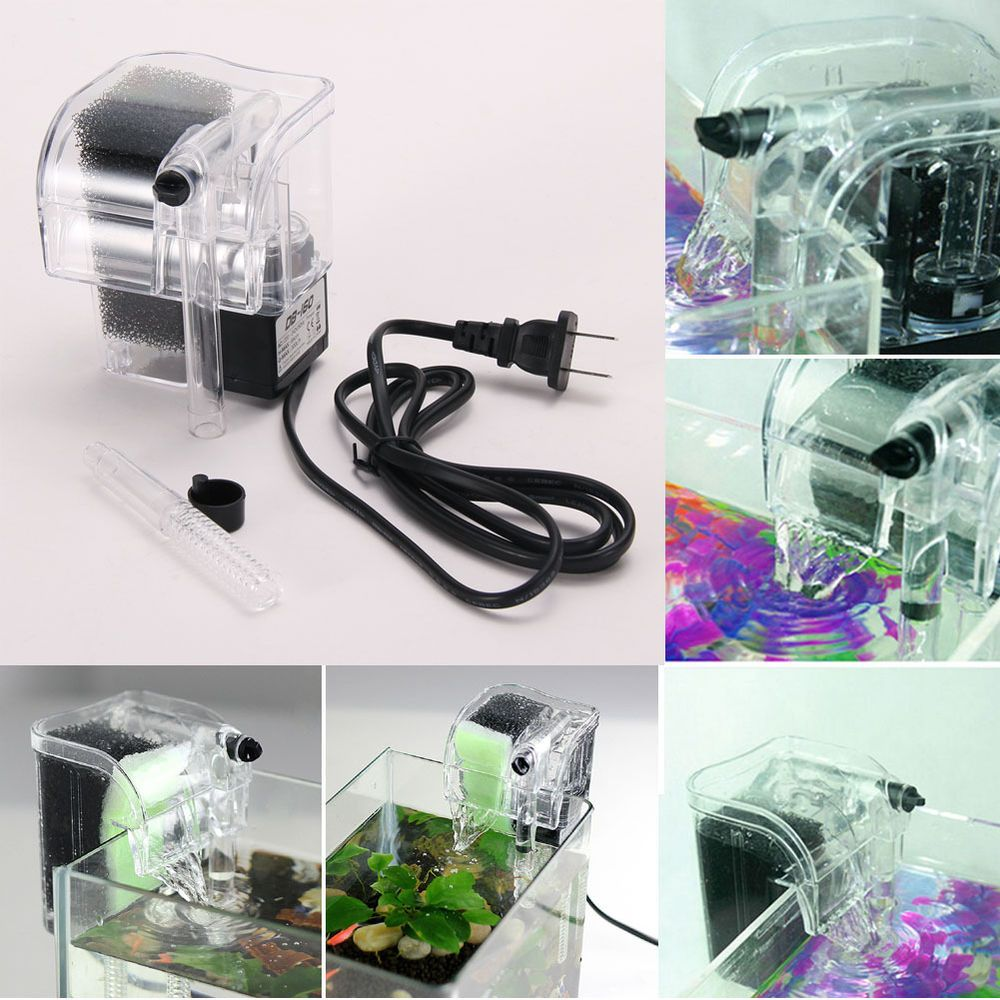 aquarium power filter waterfall water pump fish tank hang on slim filter mini totally tanked. Black Bedroom Furniture Sets. Home Design Ideas