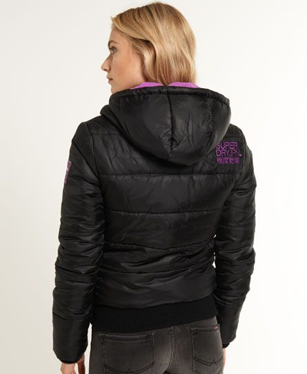 Shop Superdry Womens Sports Puffer Jacket in Black/hyper Purple. Buy now  with free delivery from the Official Superdry Store.