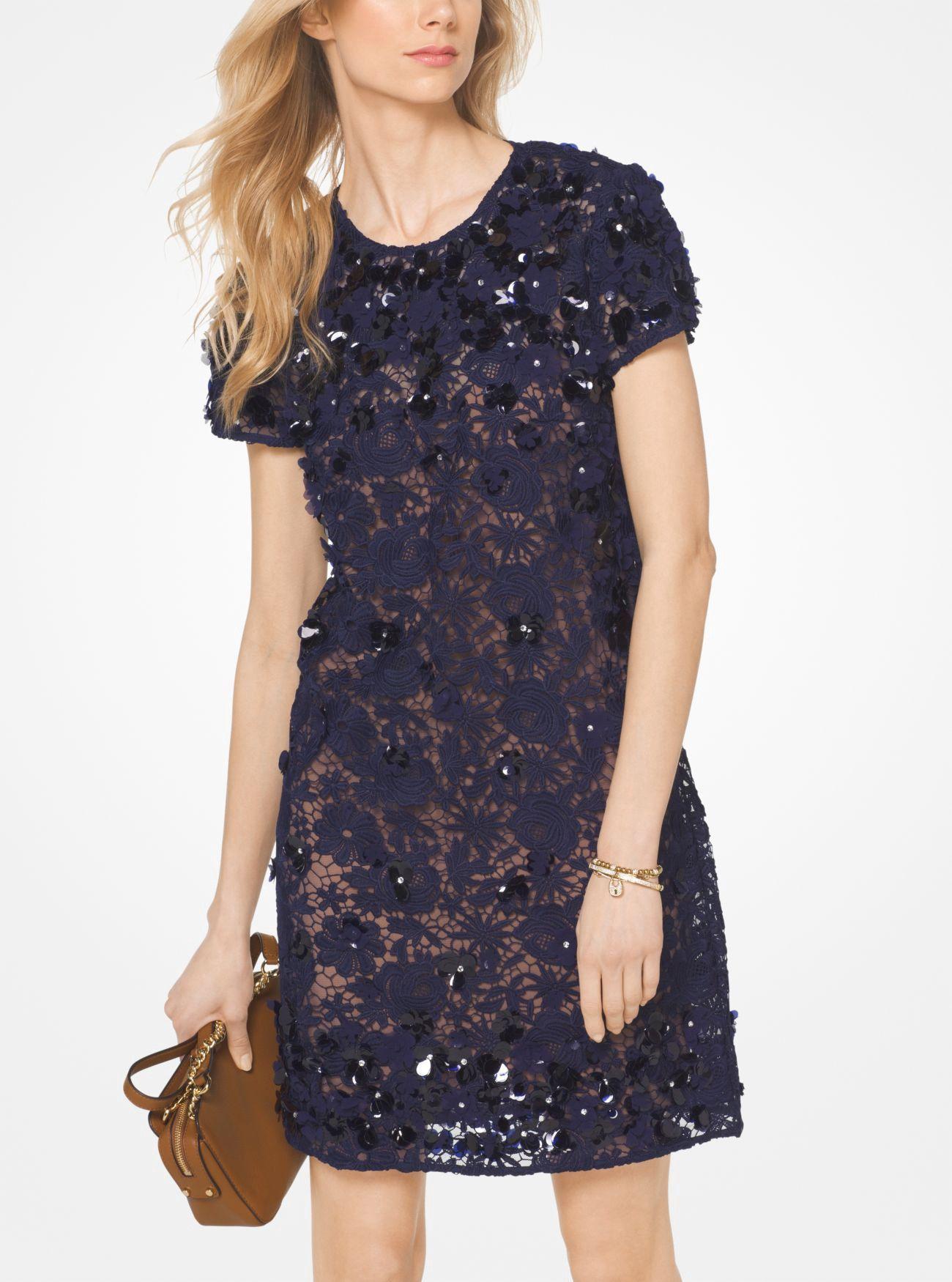MICHAEL KORS Floral Appliqué Lace Shift Dress.