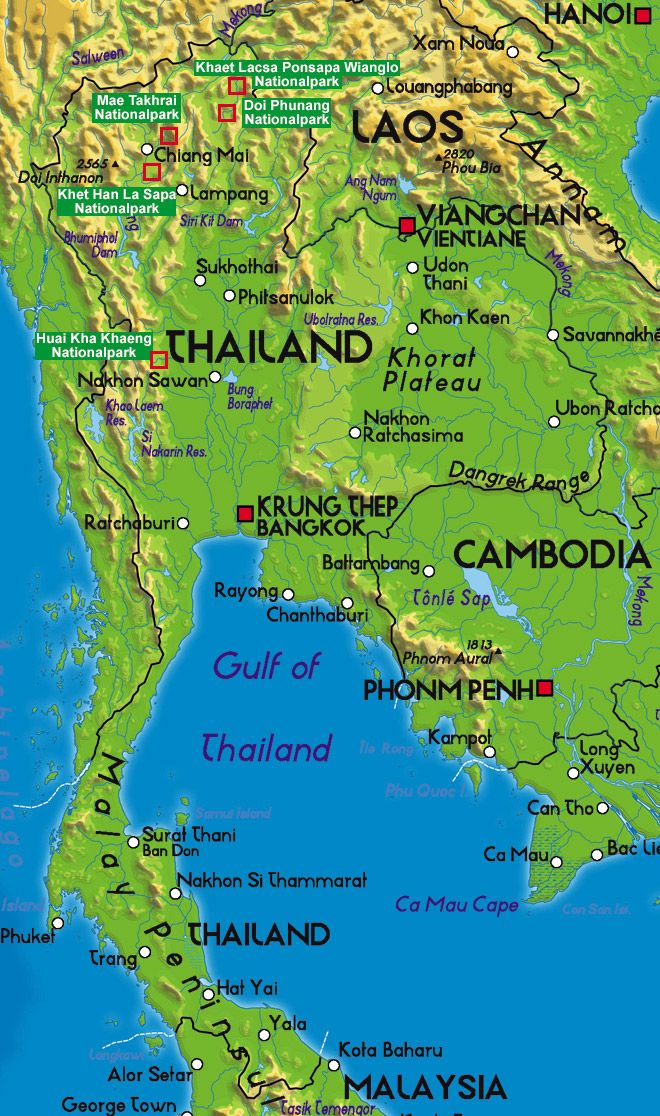 thailand national parks map - Google Search