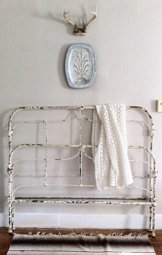 Chippy White Vintage Iron Bed Frame