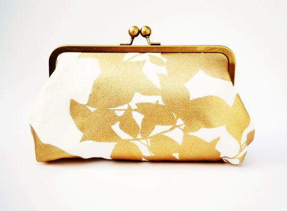 Vintage Gold Metallic Handbag Faux Leather Golden Clutch ...  Formal Gold Clutches