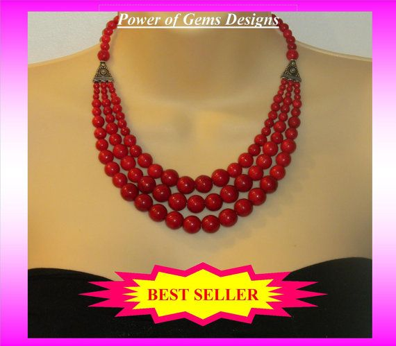 RED FIREred necklace Best Seller statement big bold by powerofgems, $66.95