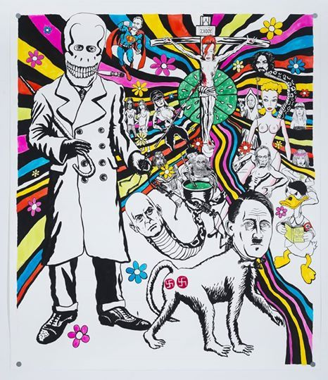 Sneak peek_11 Neal Fox, Adolf Takes a Trip 2013, Tusche auf Papier / Inks on paper 140 x 122 cm
