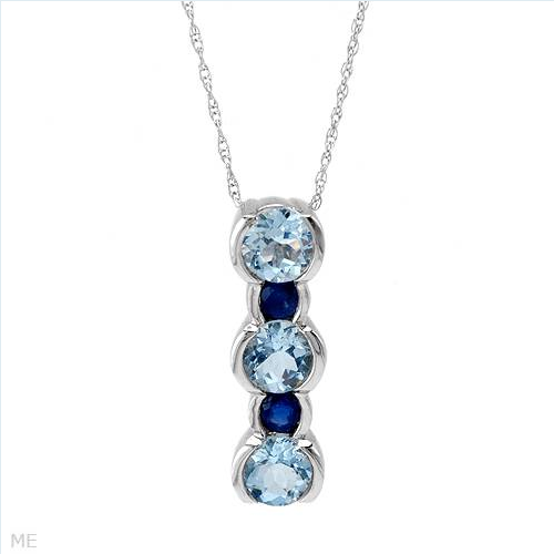 Stunning Brand New Necklace With 1.75ctw Precious Stones - Genuine Aquamarines and Sapphires Made in 14K White Gold Length 18in - Certificate Available.