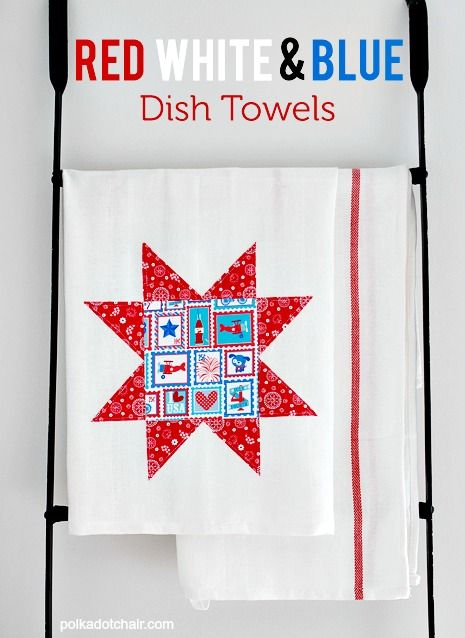 15 Patriot DIY Home Decor Projects: red, white and blue dish towels