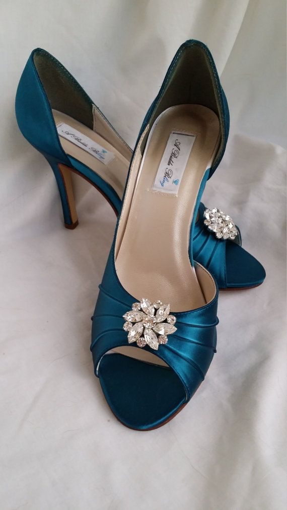5f74ea8e8ba Wedding Shoes Teal Bridal Shoes with Sparkling Crystal Flower Swirl Brooch  Design -100 Additional Colors To Pick From