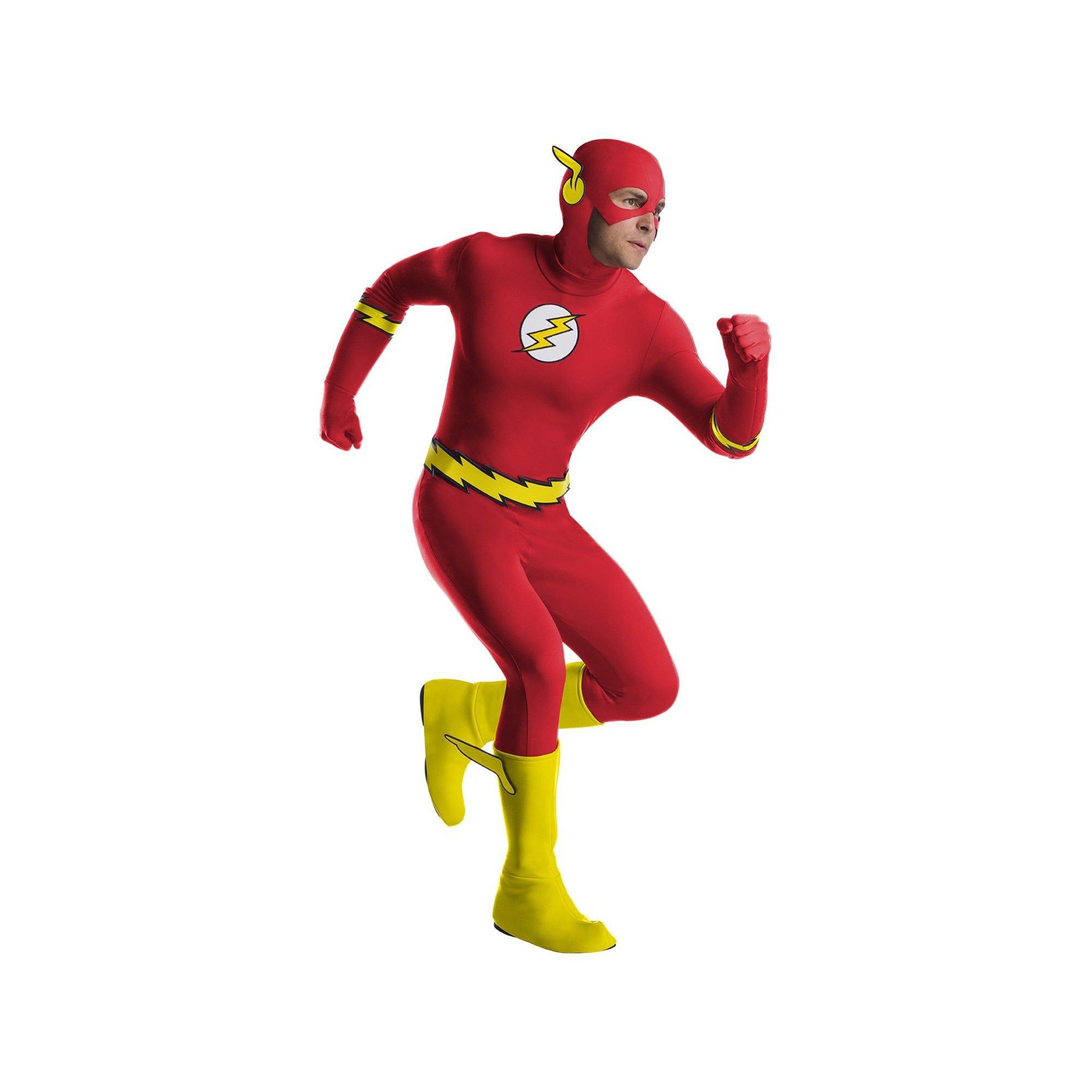 Mens Deluxe Muscle Chest Flash Superhero Comic Fancy Dress Costume Outfit STD XL