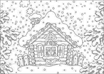 Small Log Hut In Snow On Christmas Christmas Coloring Pages Cool Coloring Pages Coloring Pages