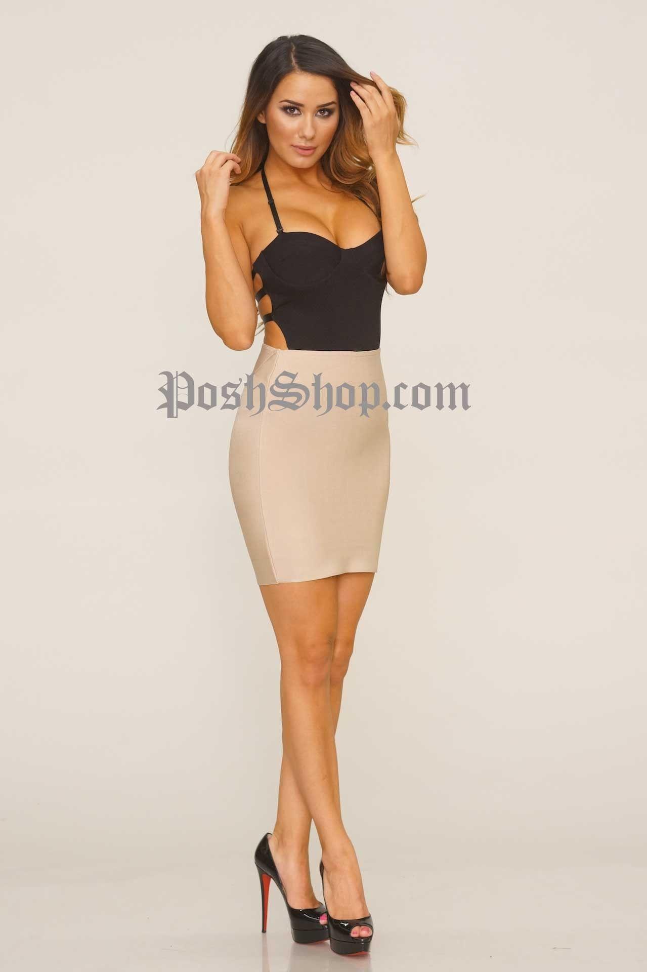 WC Short Bandage Skirt - Taupe