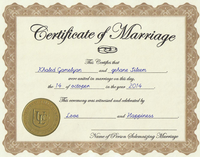 Marriage Certificate  Festisite  Gamelyan    Marriage