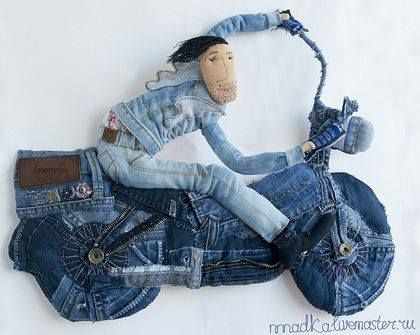 Truly Unique and Creative repurpose of Jeans! Denim Biker! Now what incredible things could you make with your scraps?!