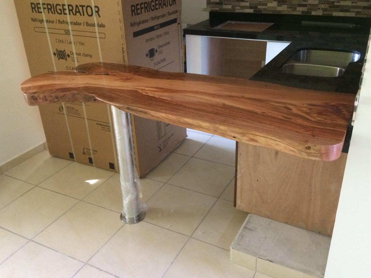 Barra para desayunador madera de sabino y soporte de acero inoxdable muebles r sticos de - Barras de madera ...