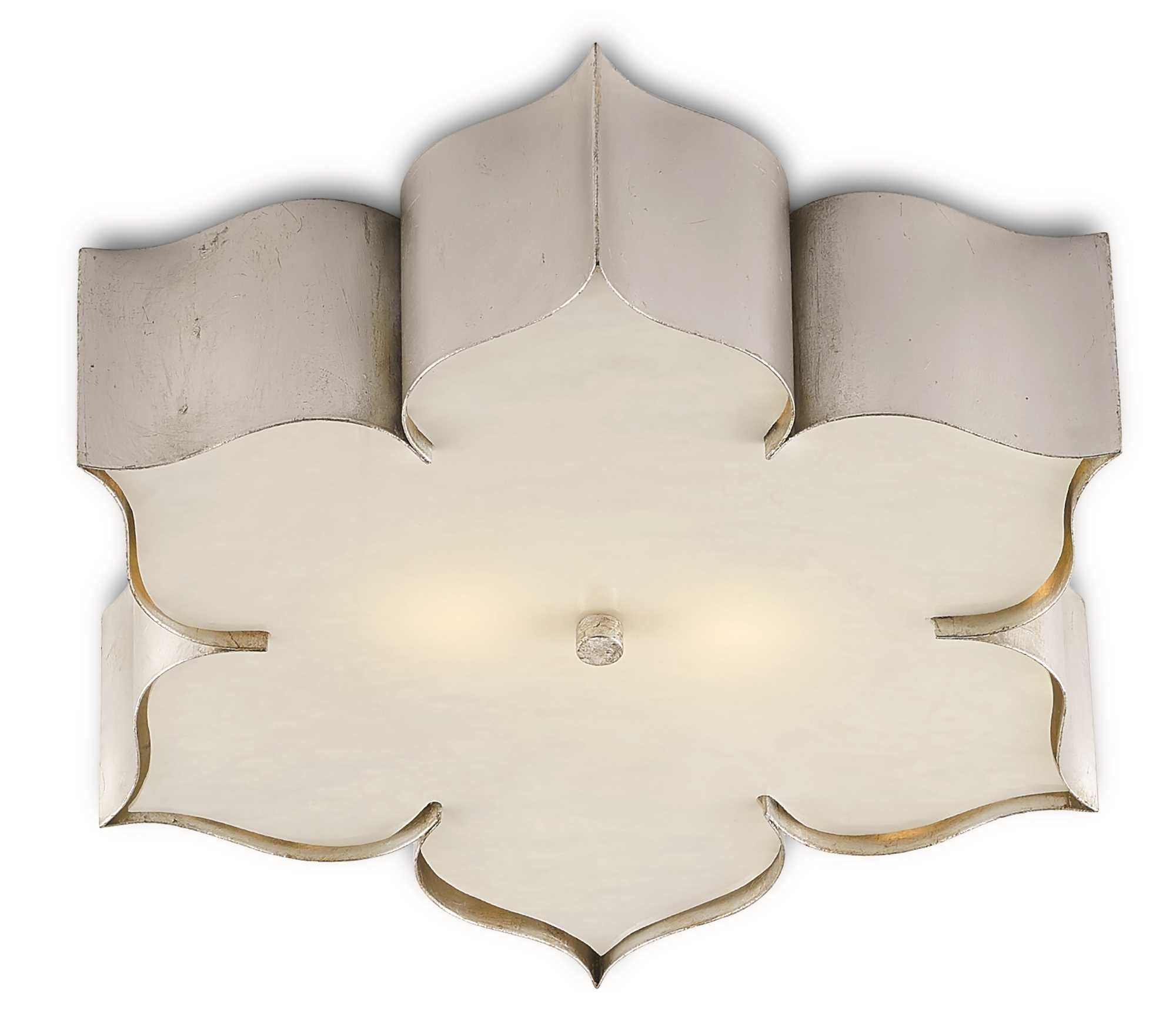 Wedding decorations beach december 2018 Currey u Company Silver leaf Grand Lotus Flush Ceiling Mount  ON