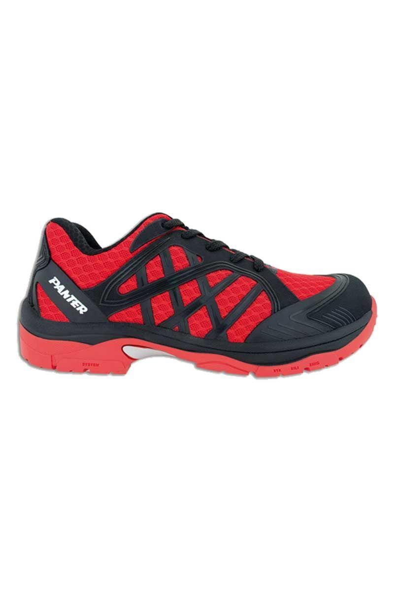 Zapato de seguridad deportivo 'tipo bamba' en color rojo con