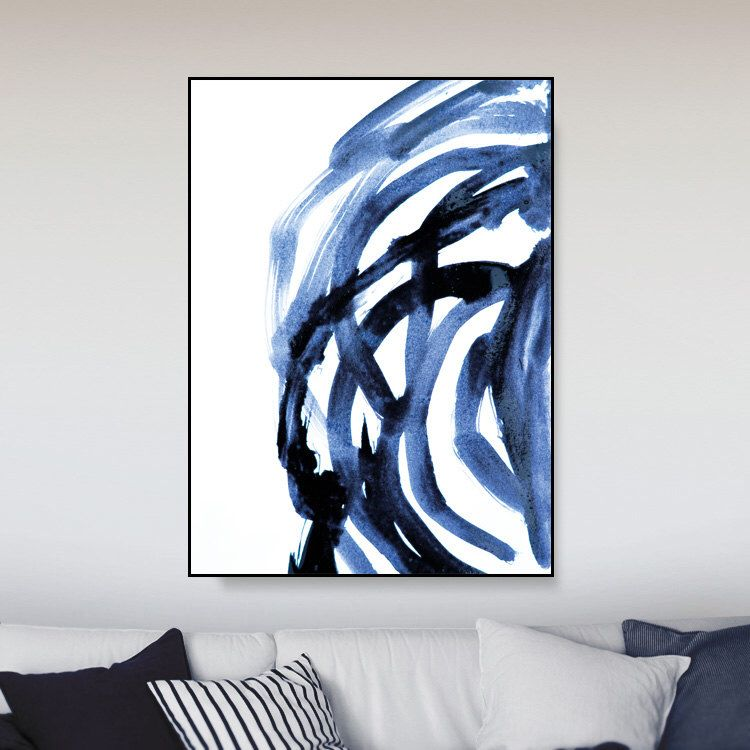 Printable abstract large art prints brush prints simple prints navy blue painting a0 art minimalist art brush stroke print dan hobday