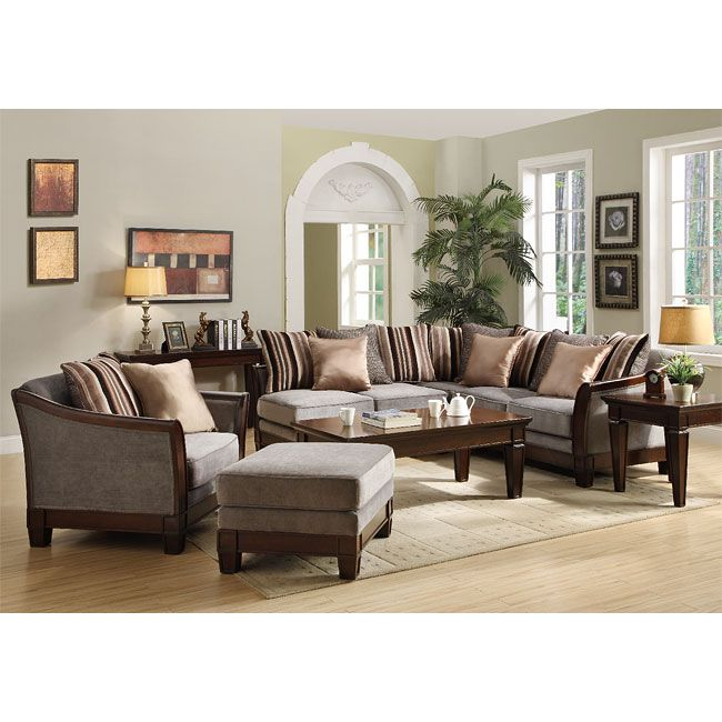 Trenton Sectional Living Room Set (Grey Velvet) | Sectionals at ...