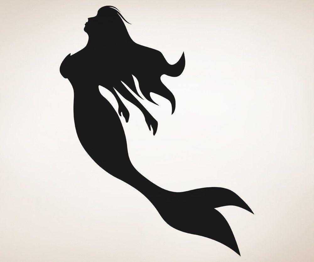 Amazon.com: Stickerbrand Vinyl Wall Art Decal Sticker Mermaid Silhouette OS_AA1207m: Home & Kitchen