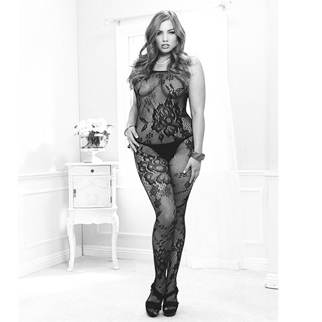 df756b6b42 Spiral Lace Bodystocking Spiral lace seamless off the shoulder long sleeved  bodystocking. One size fits most 150-200 lbs.