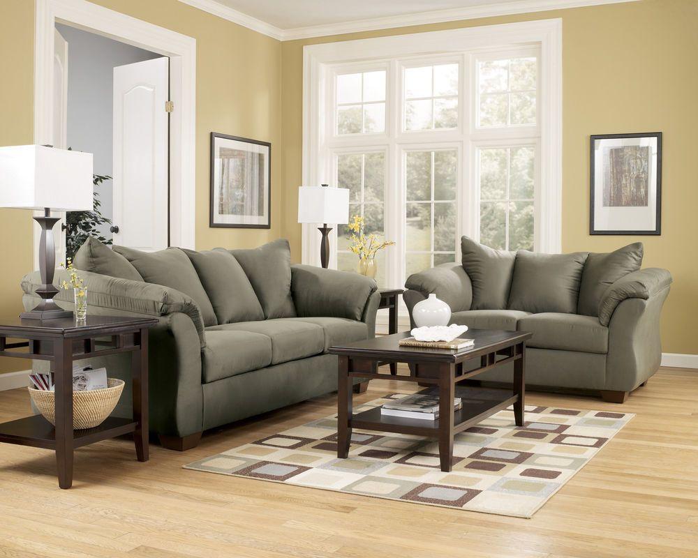 Sage Contemporary Sofa Loveseat Set Modern Couch Living Room Microfiber Fabric Contemporary Living Room Sets Living Room Furniture Contemporary Sofa