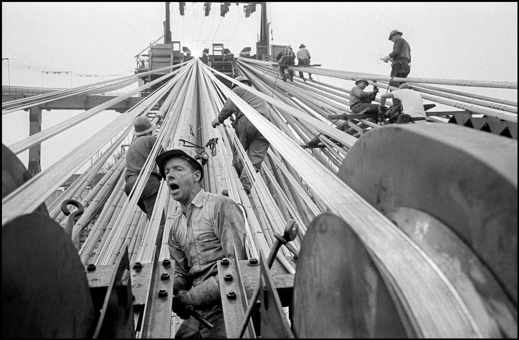 Construction of the Verranzano Narrows Bridge's cables, Brooklyn, NY, 1963