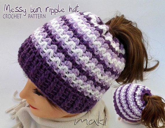Messy bun hat crochet pattern Crochet ponytail hat by MakiCrochet ...