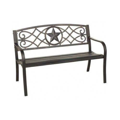 Patio Bench Chair Texas Star Design Porch Deck Antique Bronze