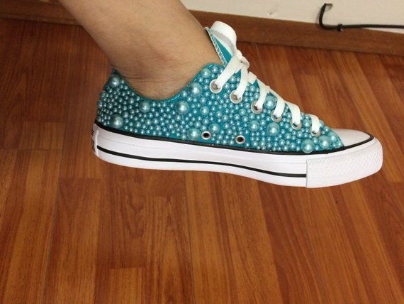 86912ee8ed1e Women s Blue Turquoise Custom Converse All Star Chuck Taylor with pearls