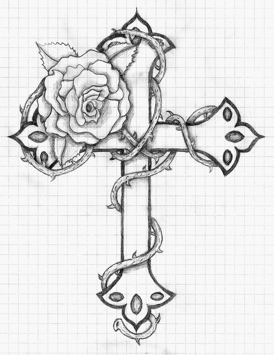 Coloring pages for adults crosses - Rose And Cross By Balloon Fiasco Deviantart Com On Deviantart
