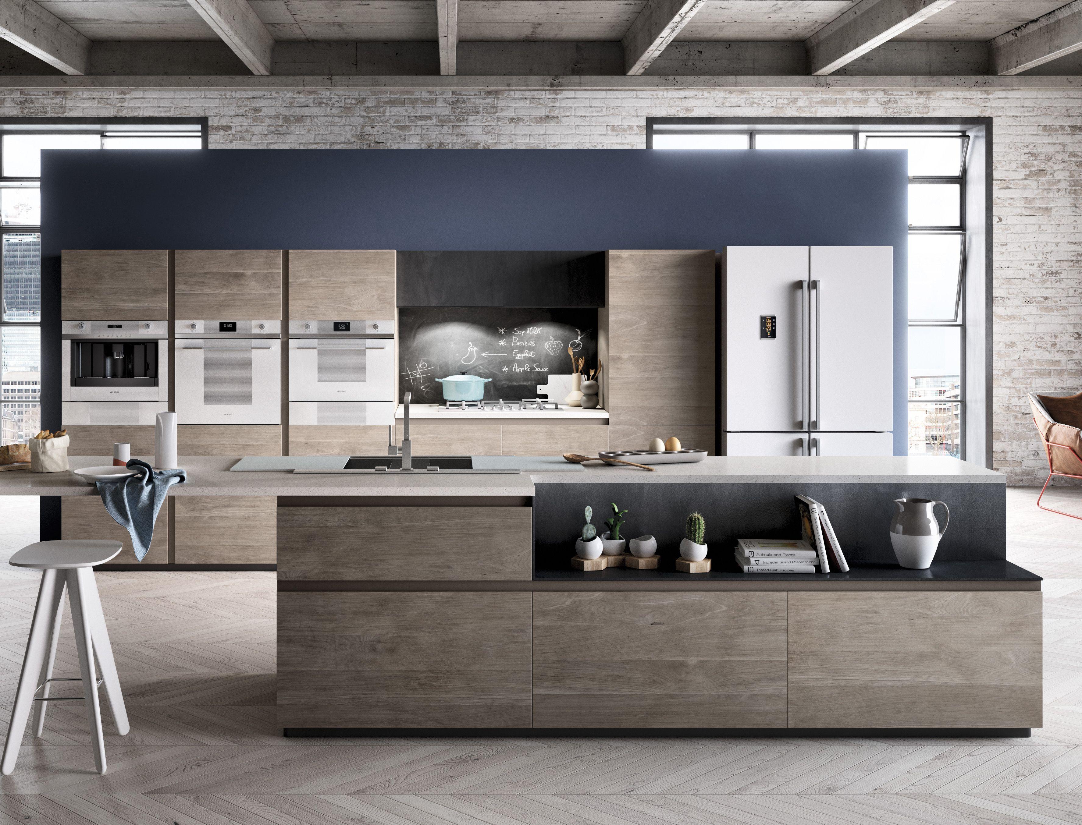 Küchen Adrian ~ Combination of white smeg linea appliances in a loft smeg