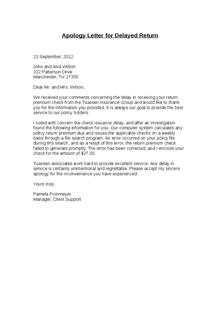 apology letter for delayed return