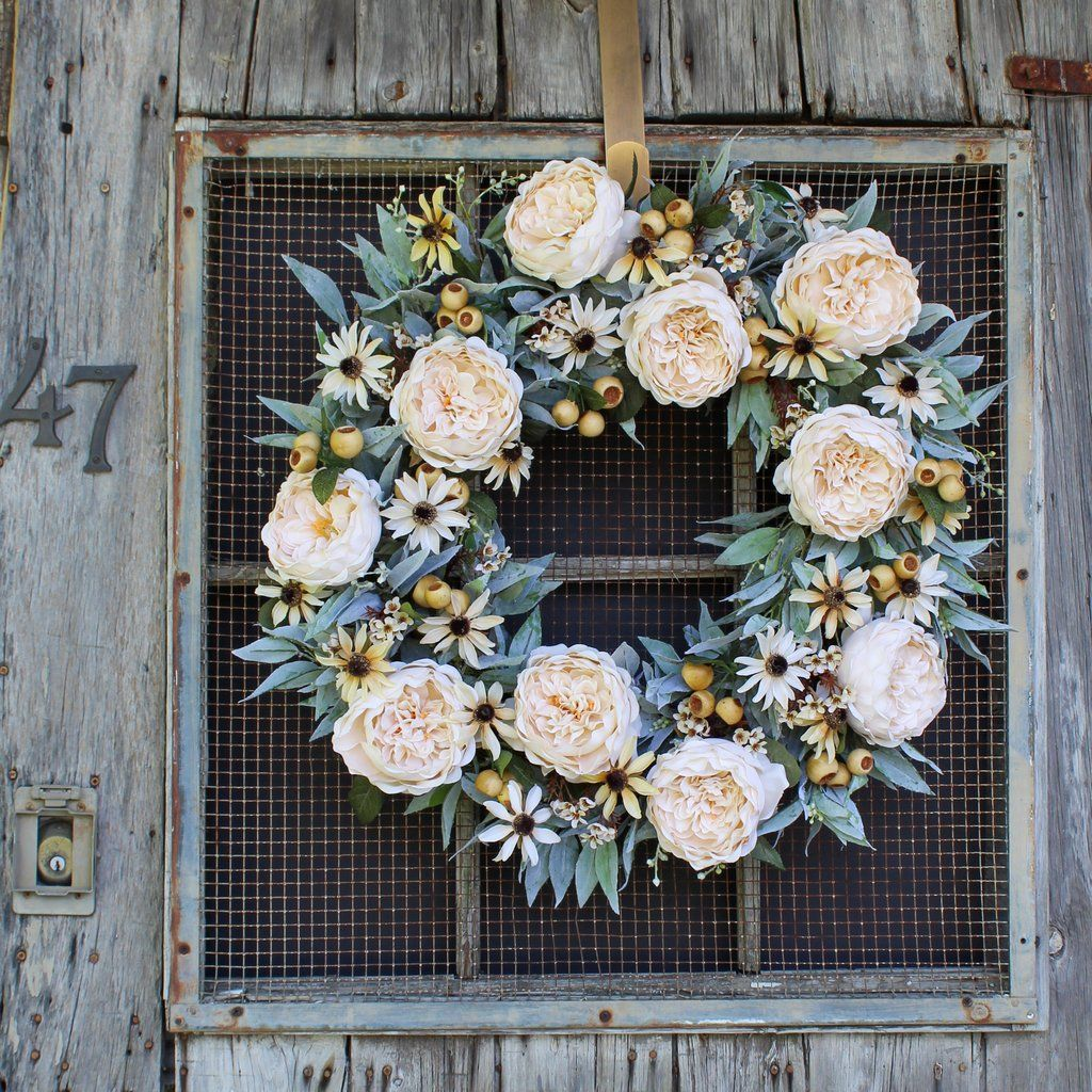 Cream Cabbage Rose, Seeded Eucalyptus & Wildflower Front Door Fall Wre - Darby Creek Trading