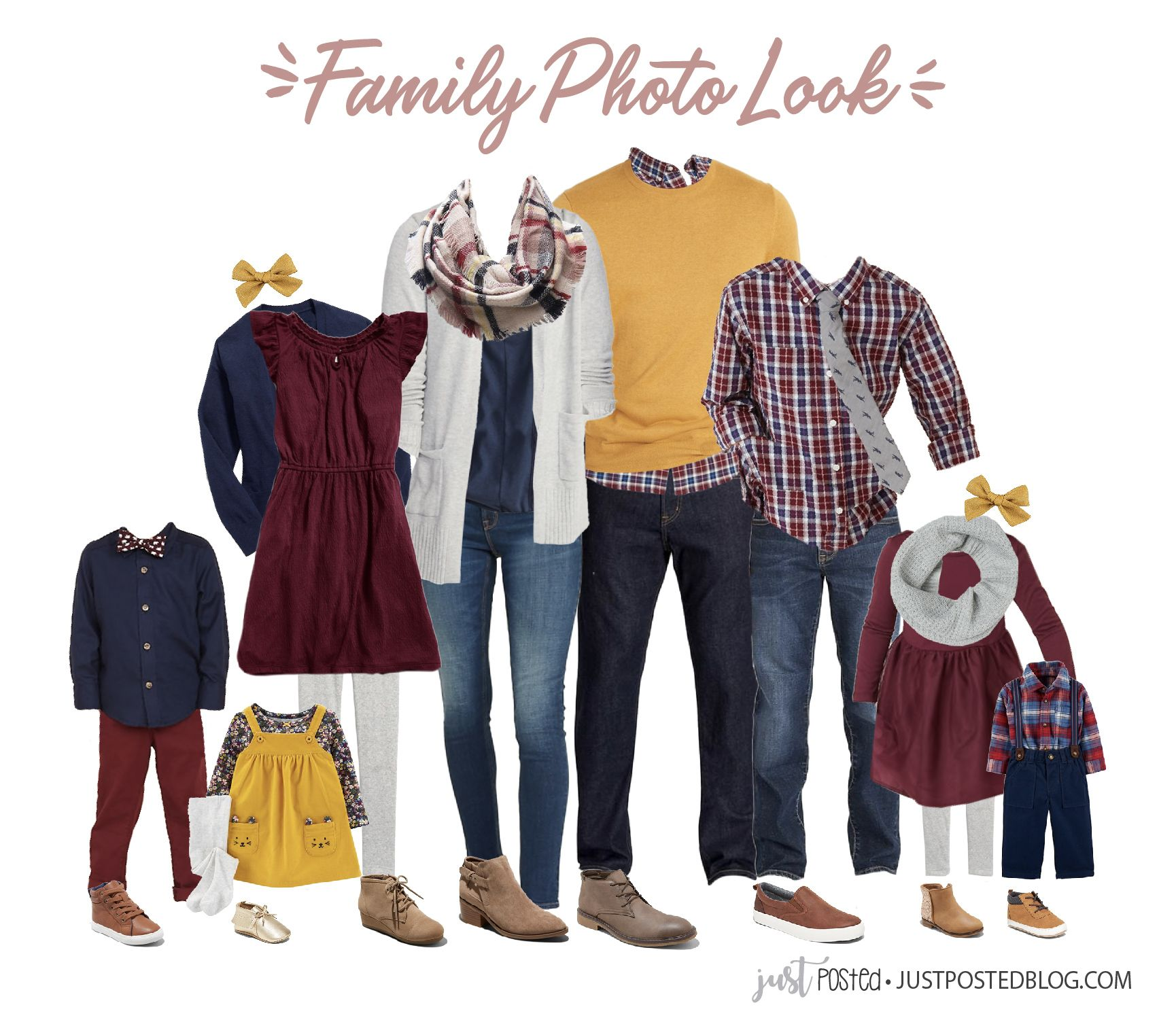 What to Wear for Fall or Winter Family Pictures! Navy, Burgundy and Yellow #familyphotooutfits