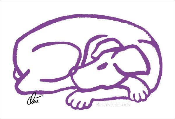 JACQUELINE DITT - Dog Purple  Original Grafik handsigniert Bilder Hund Tiere art