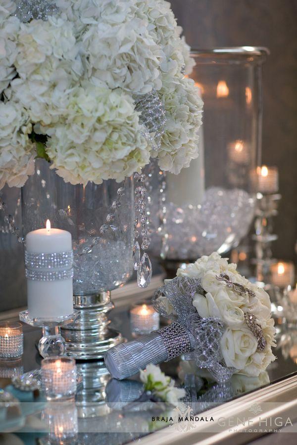 Sparkle + Crystal + White Wedding Theme | San Diego Wedding Florist - Jennifer Cole Florals