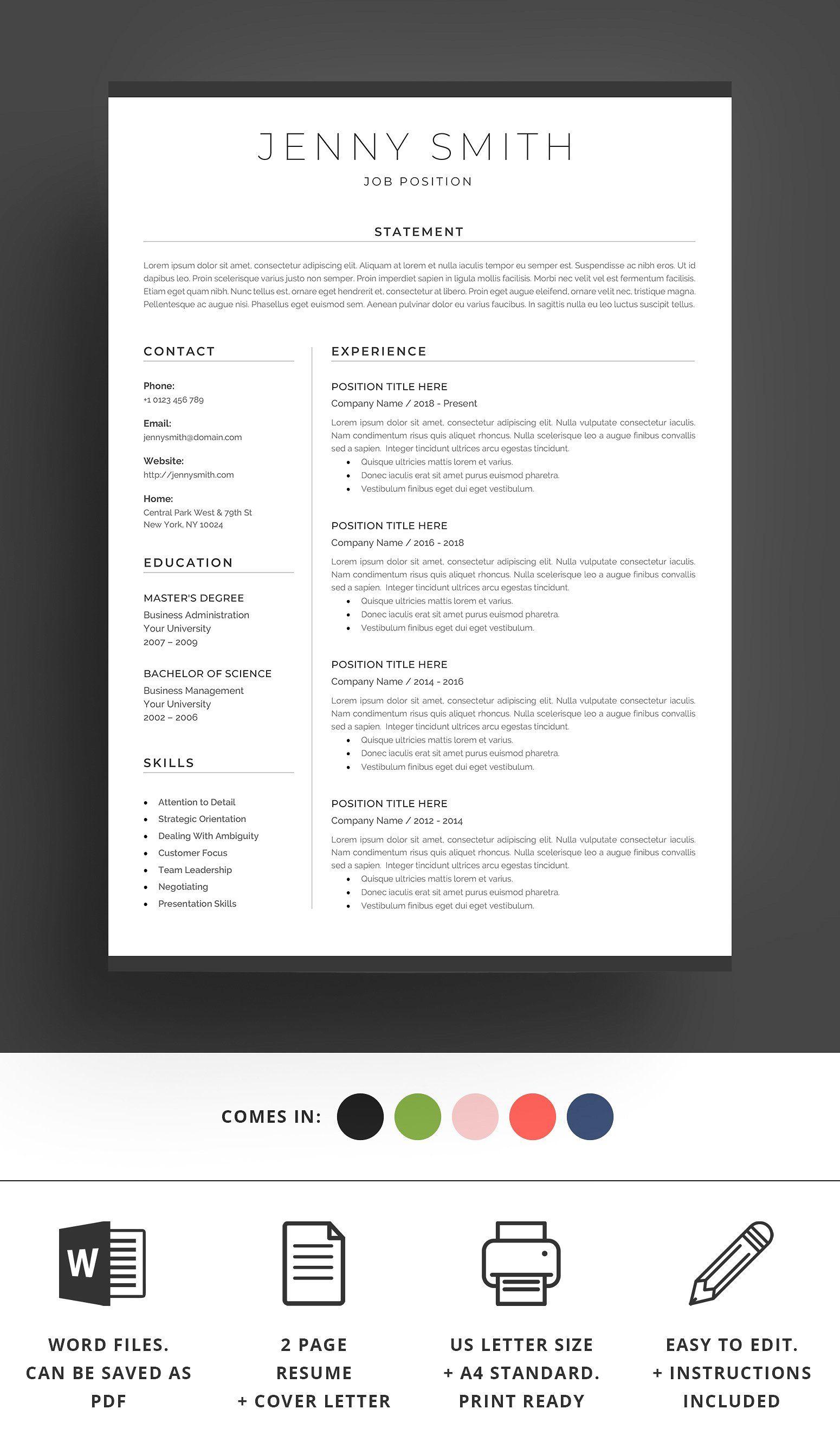 Resume Template Word Modern Clean Cv Ready Docx Files Print Resume Template Word Resume Template Resume Words