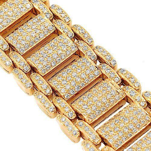 Yellow Gold Plated Silver Diamond Bracelet for Men 0 50ct