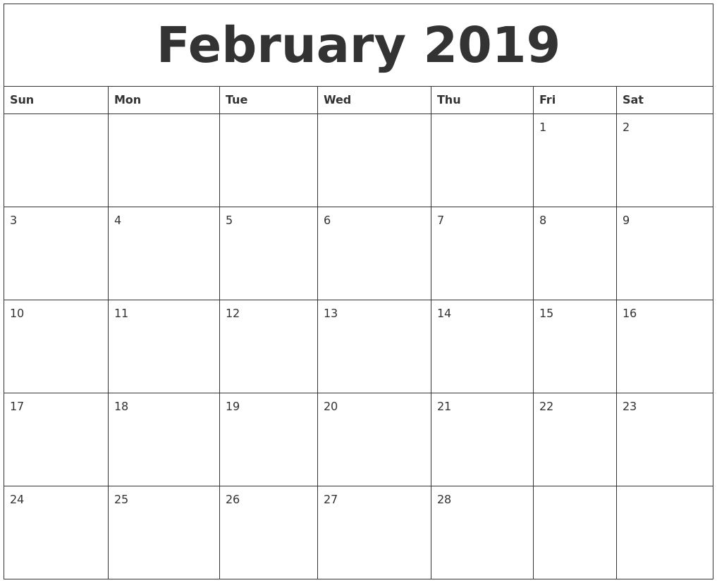 February 2019 Editable Calendar Template Belajar Canada