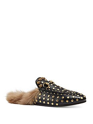 Gucci Princetown Studded Leather & Fur Loafer Slides - Black-Tan -