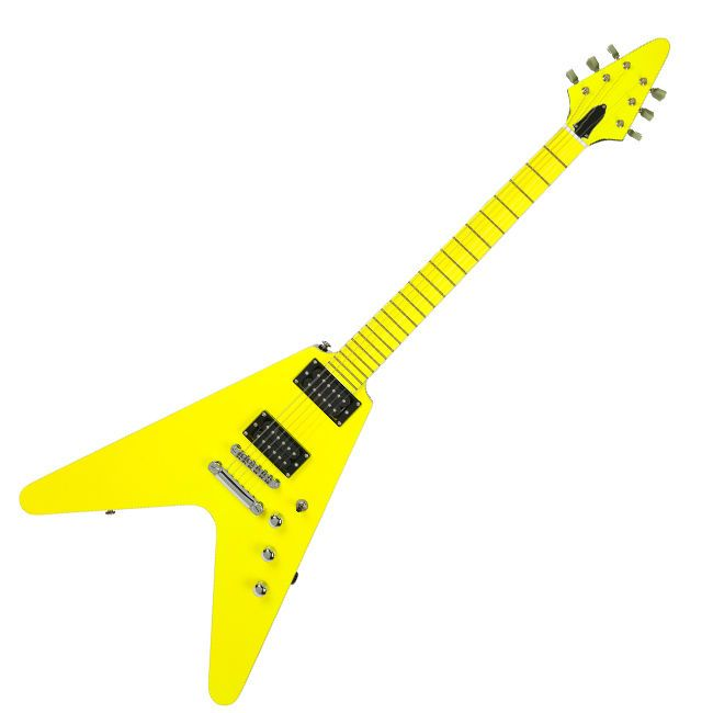No Brand V Shape Electric Guitar Yellow Black Back Unique