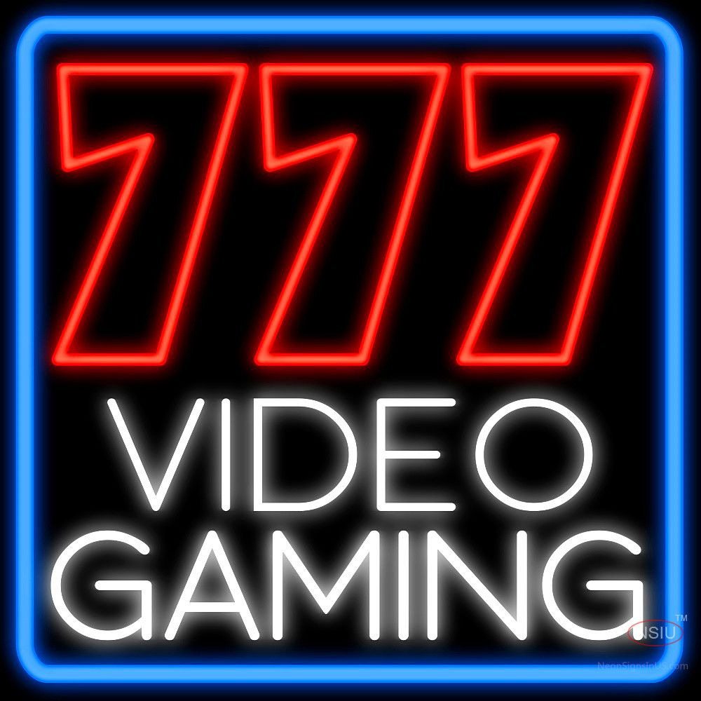 777 Video Gaming Blue Real Neon Glass Tube Neon Signs