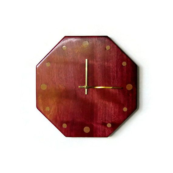 This colorful wood clock will add a unique pop of color to your room.  Wood Clock Unique Clock Exotic Wood by Shannybeebo