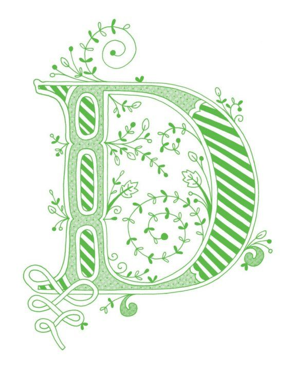 Hand Drawn Monogrammed Print 8x10 The Letter D In Color Green