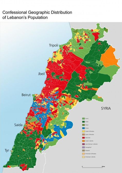 lebanon religion map