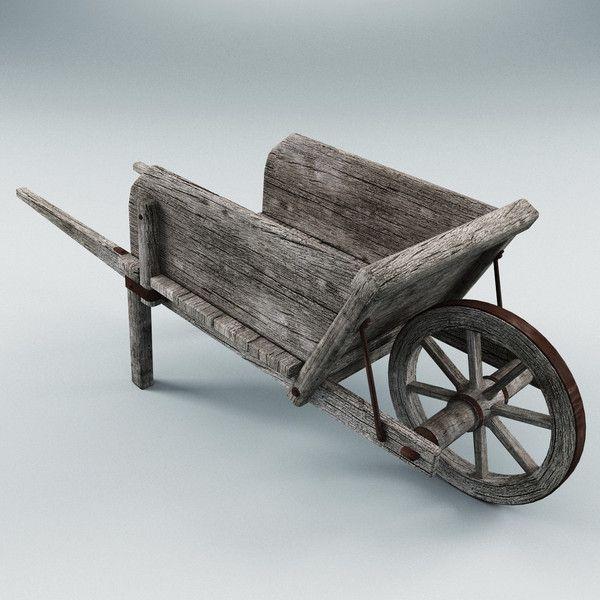 Old Wooden Barrow Turbosquid 2013 Wooden Cart Wooden Wheelbarrow Wood Wagon