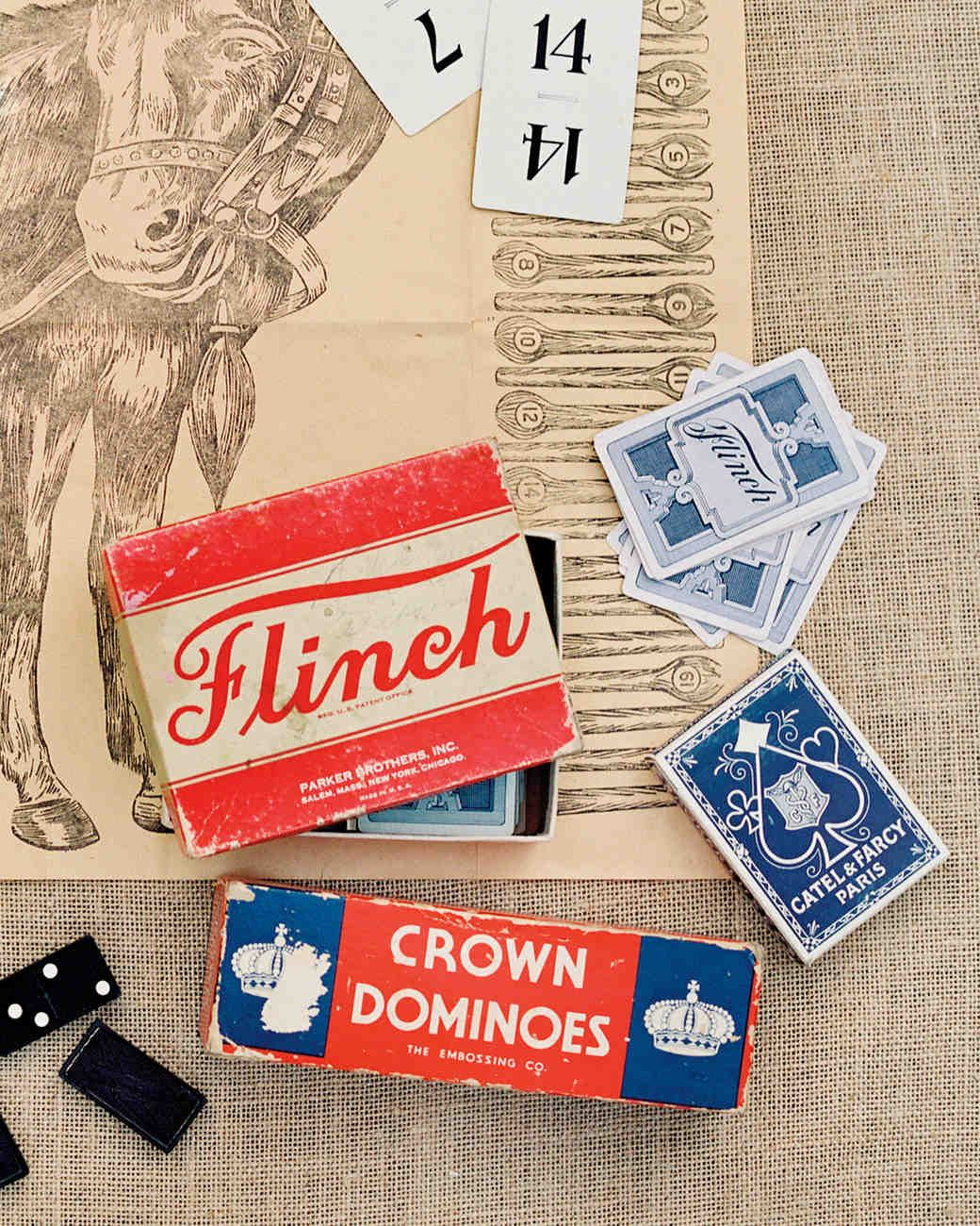 Vintage Pin the Tail on the Donkey, playing cards, and dominoes ...
