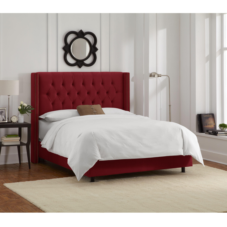 Skyline Furniture Berry Velvet Diamond Tufted Wingback Nail Bed (California King, Berry), Red