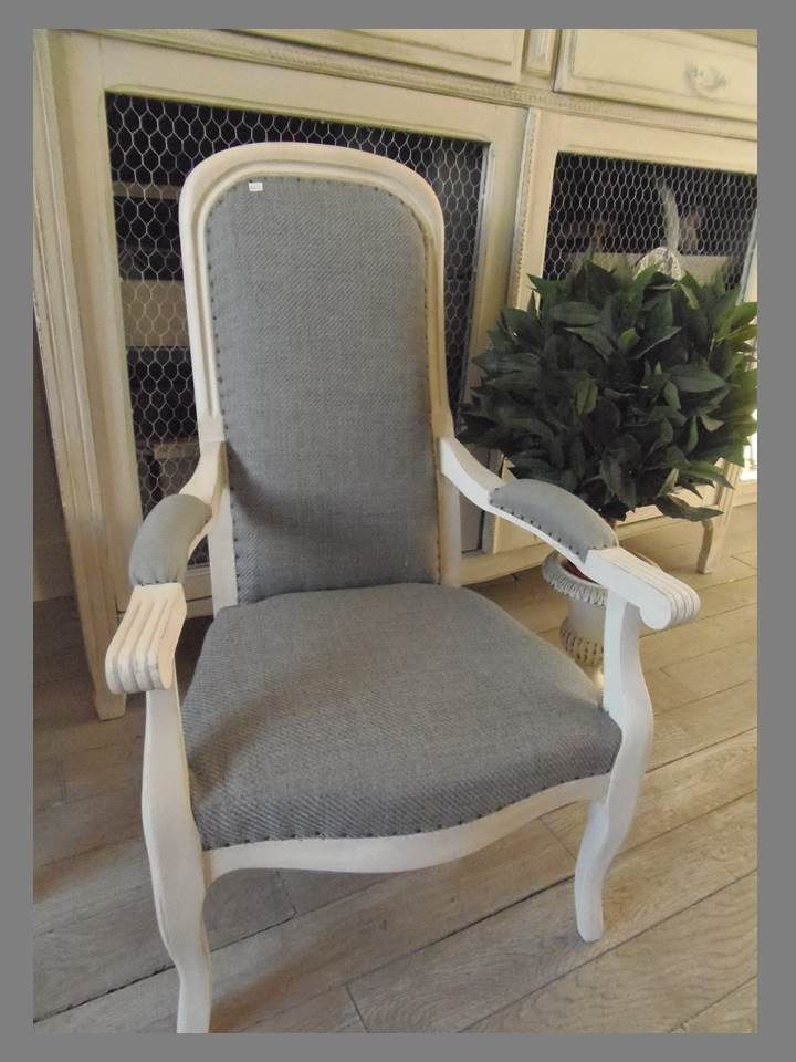 fauteuil voltaire enfant patin gris perle tapiss de lin gris meubles et rangements par. Black Bedroom Furniture Sets. Home Design Ideas